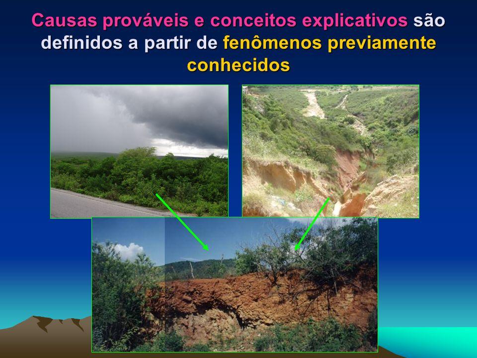 Causas prováveis e conceitos explicativos são definidos a partir de fenômenos previamente conhecidos