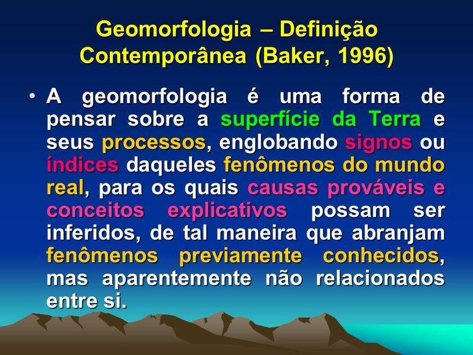 Geomorfologia – Definição Contemporânea (Baker, 1996)