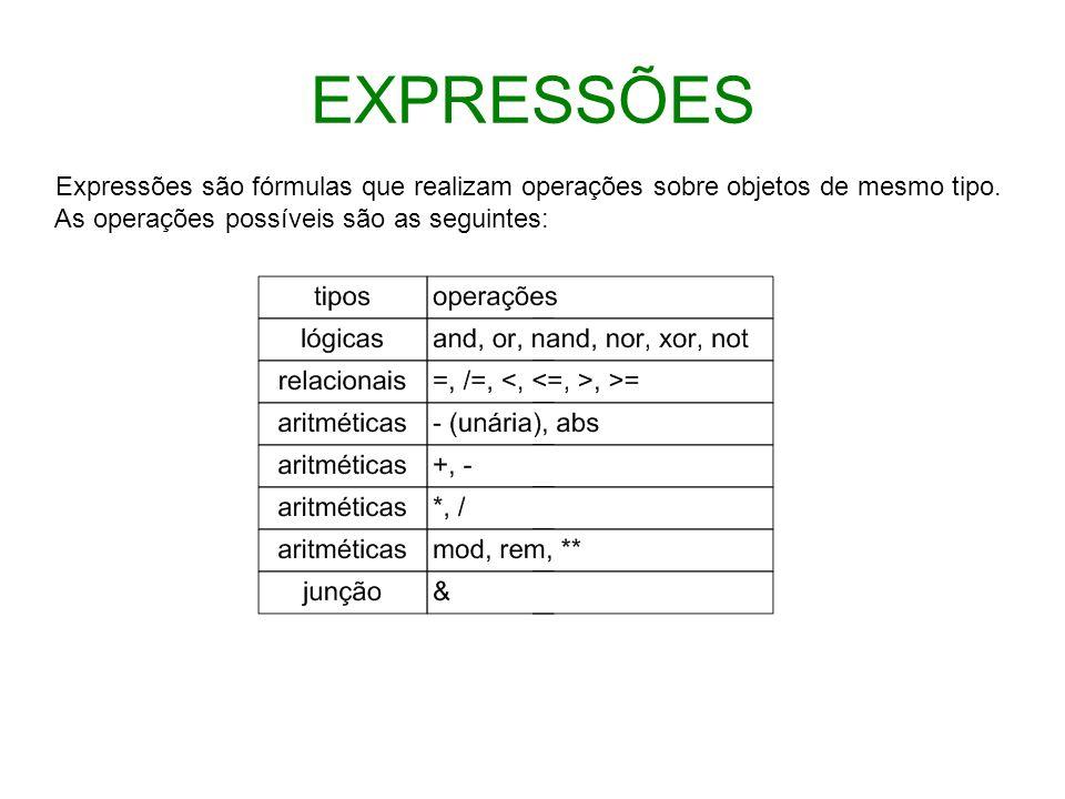 EXPRESSÕES Expressões são fórmulas que realizam operações sobre objetos de mesmo tipo.
