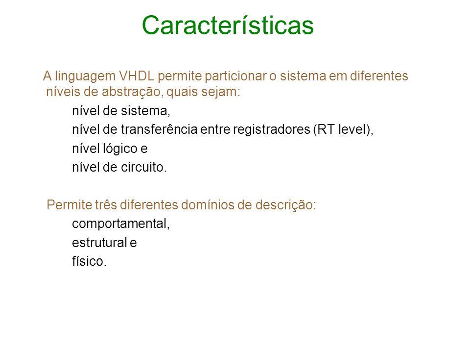 Características A linguagem VHDL permite particionar o sistema em diferentes níveis de abstração, quais sejam:
