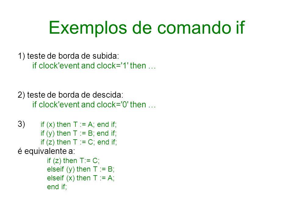 Exemplos de comando if 1) teste de borda de subida: