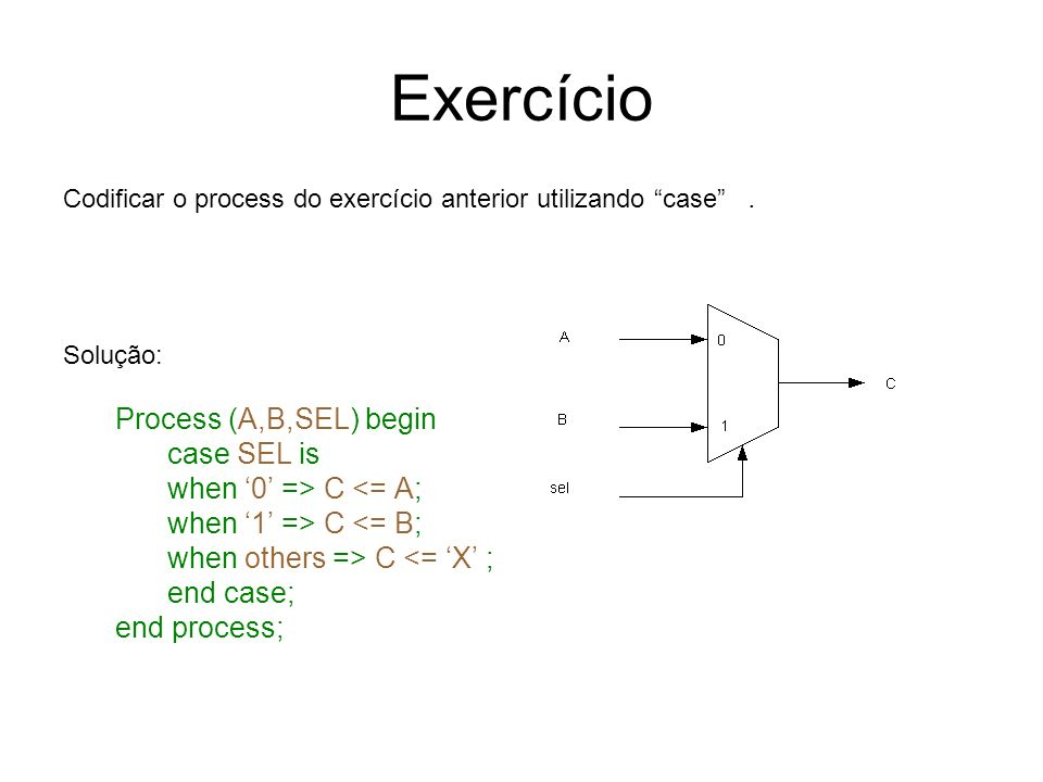 Exercício Process (A,B,SEL) begin case SEL is