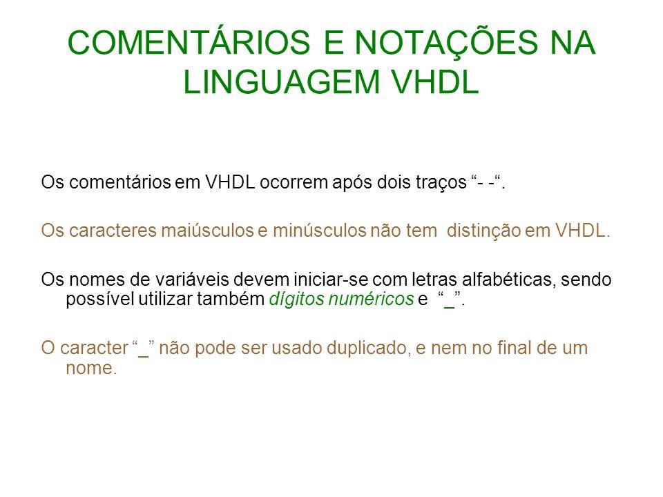 COMENTÁRIOS E NOTAÇÕES NA LINGUAGEM VHDL