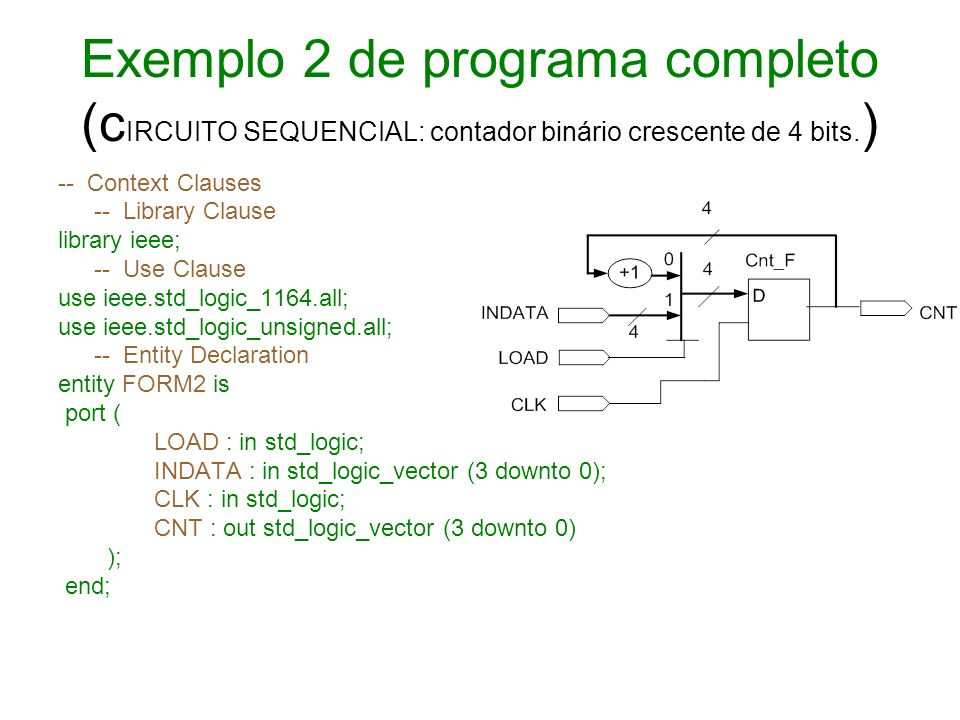 Exemplo 2 de programa completo (cIRCUITO SEQUENCIAL: contador binário crescente de 4 bits.)
