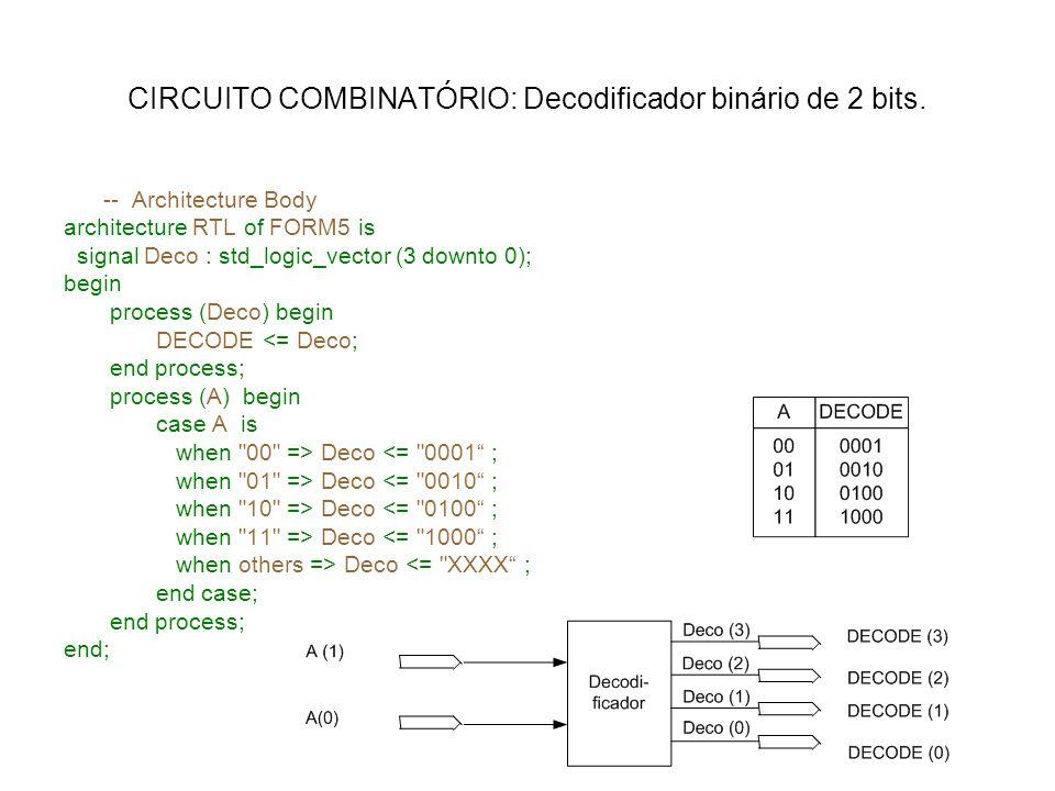 CIRCUITO COMBINATÓRIO: Decodificador binário de 2 bits.