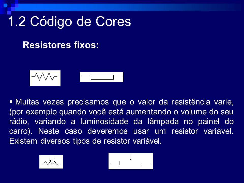 1.2 Código de Cores Resistores fixos: