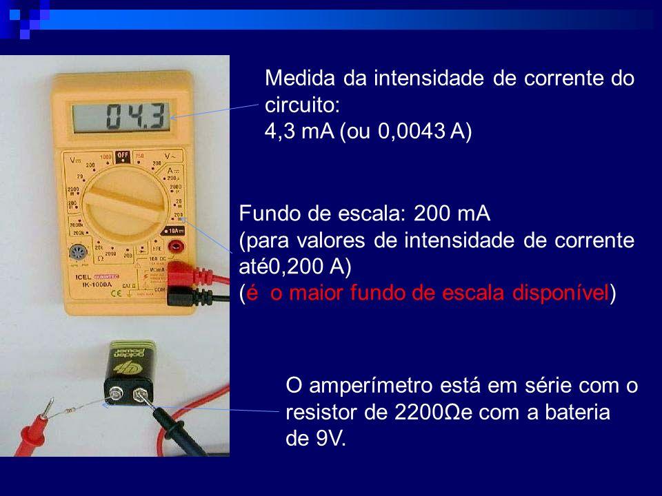 Medida da intensidade de corrente do circuito: