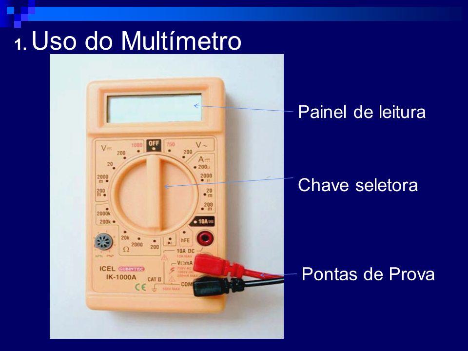 1. Uso do Multímetro Painel de leitura Chave seletora Pontas de Prova