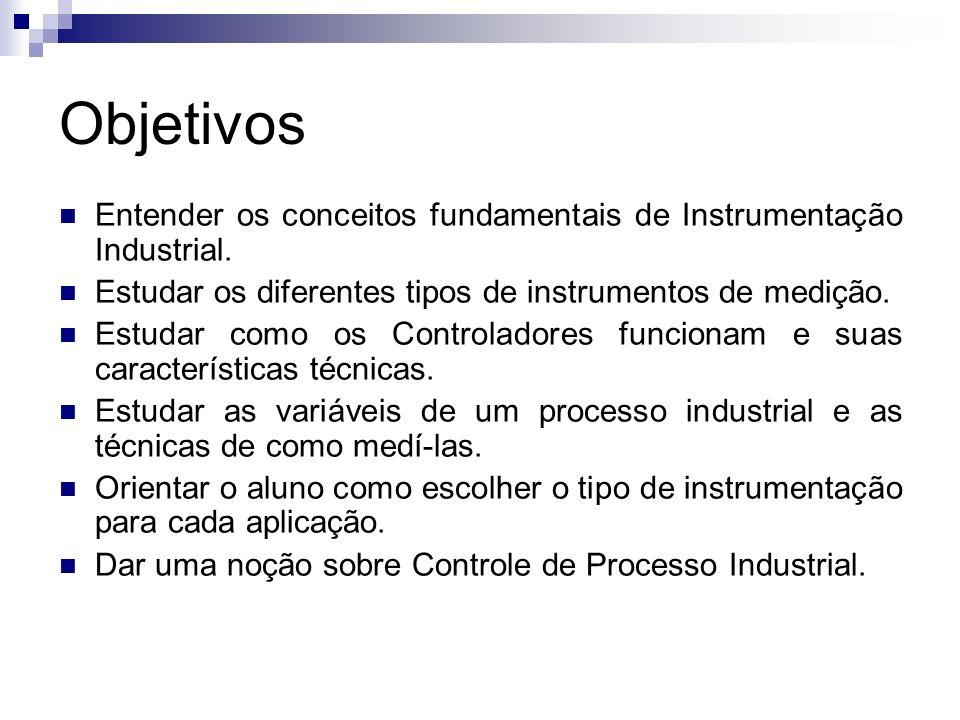 Objetivos Entender os conceitos fundamentais de Instrumentação Industrial. Estudar os diferentes tipos de instrumentos de medição.