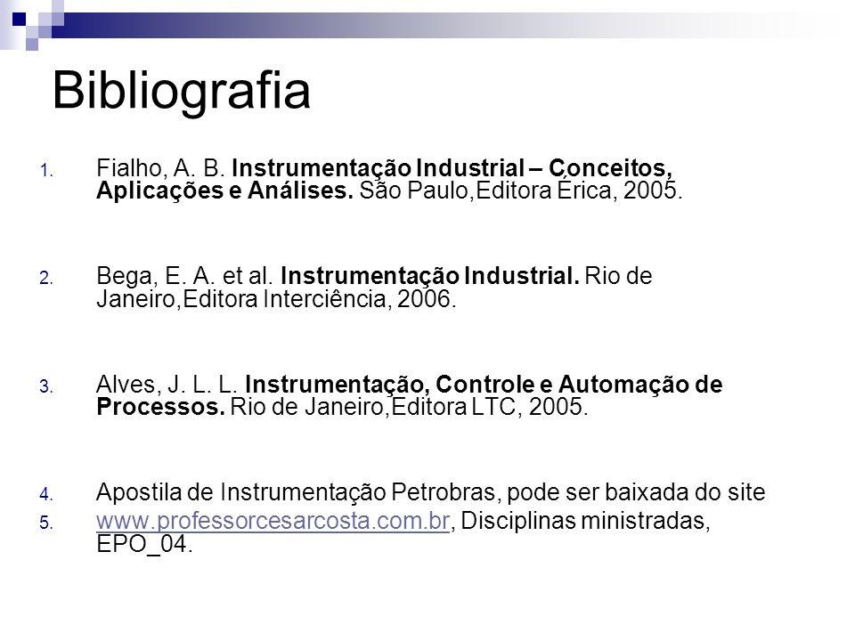Bibliografia Fialho, A. B. Instrumentação Industrial – Conceitos, Aplicações e Análises. São Paulo,Editora Érica, 2005.