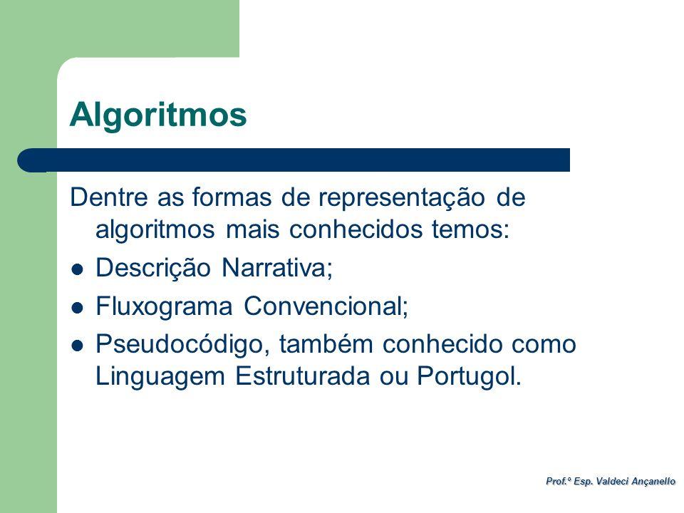 Algoritmos Dentre as formas de representação de algoritmos mais conhecidos temos: Descrição Narrativa;