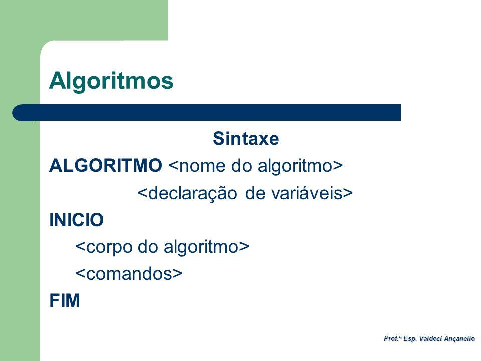 Algoritmos Sintaxe ALGORITMO <nome do algoritmo> <declaração de variáveis> INICIO <corpo do algoritmo> <comandos> FIM