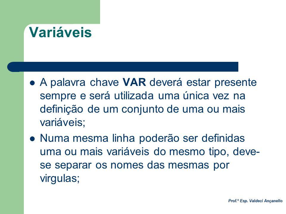 Variáveis A palavra chave VAR deverá estar presente sempre e será utilizada uma única vez na definição de um conjunto de uma ou mais variáveis;