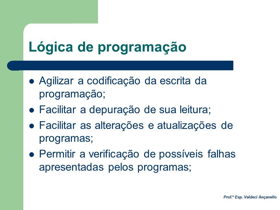 Lógica de programação Agilizar a codificação da escrita da programação; Facilitar a depuração de sua leitura;