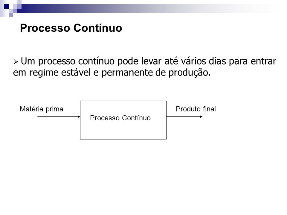 Processo Contínuo Um processo contínuo pode levar até vários dias para entrar em regime estável e permanente de produção.