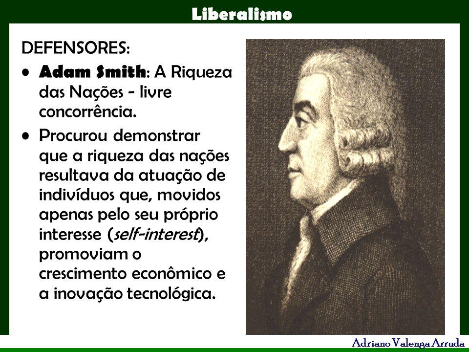 DEFENSORES: Adam Smith: A Riqueza das Nações - livre concorrência.