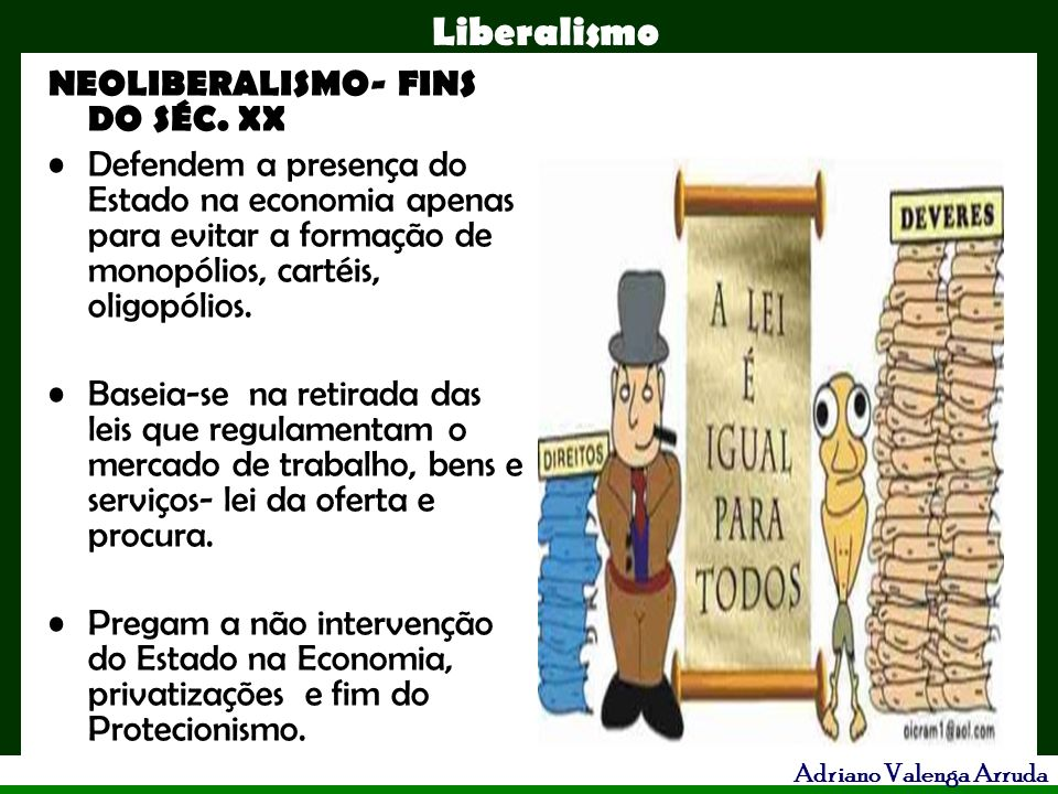 NEOLIBERALISMO- FINS DO SÉC. XX