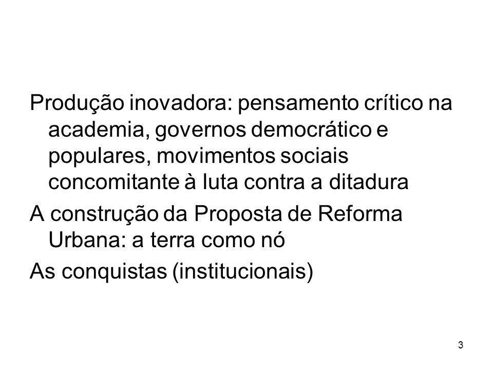 Produção inovadora: pensamento crítico na academia, governos democrático e populares, movimentos sociais concomitante à luta contra a ditadura