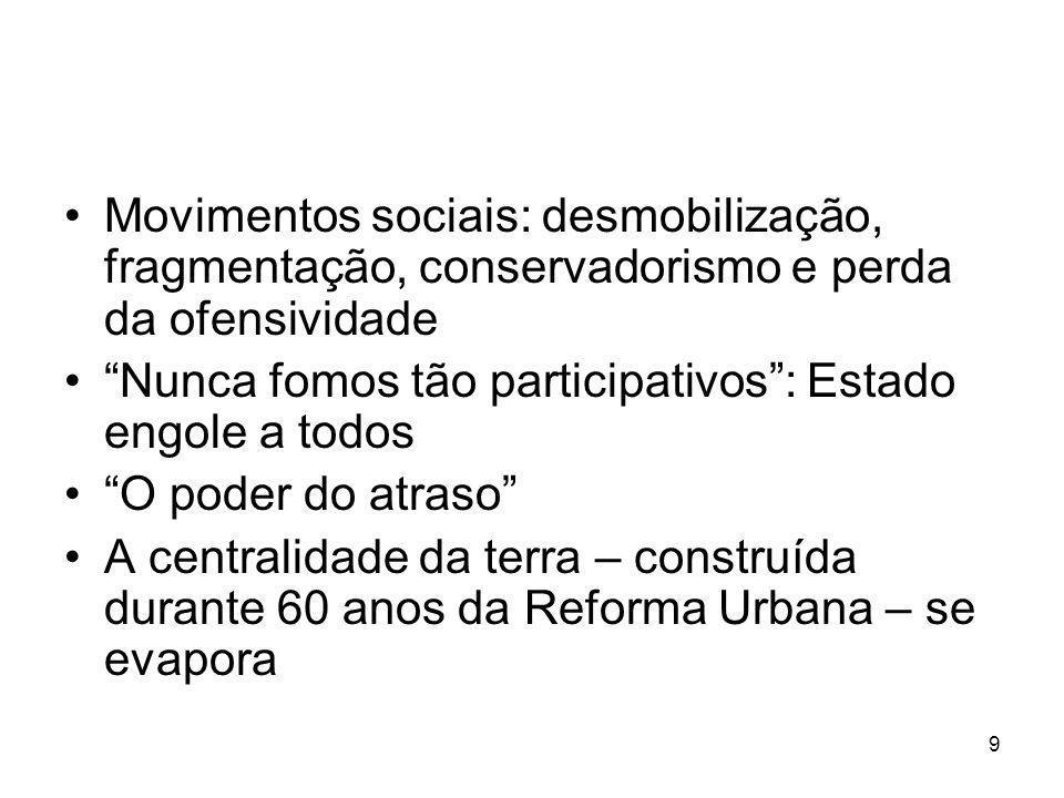 Movimentos sociais: desmobilização, fragmentação, conservadorismo e perda da ofensividade