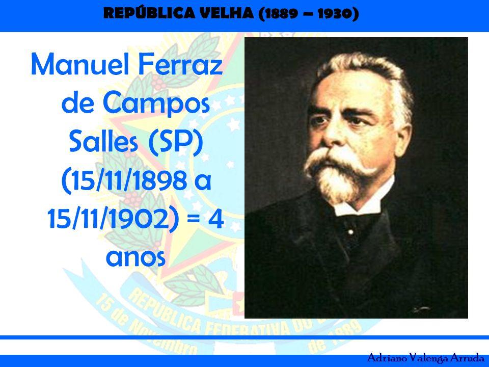 Manuel Ferraz de Campos Salles (SP) (15/11/1898 a 15/11/1902) = 4 anos