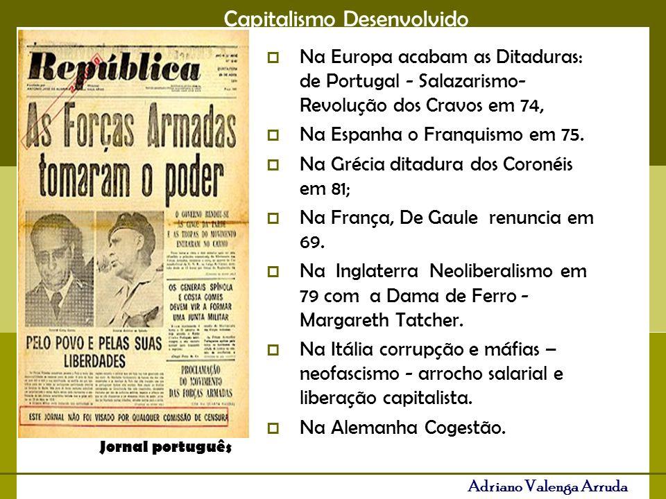 Na Espanha o Franquismo em 75. Na Grécia ditadura dos Coronéis em 81;