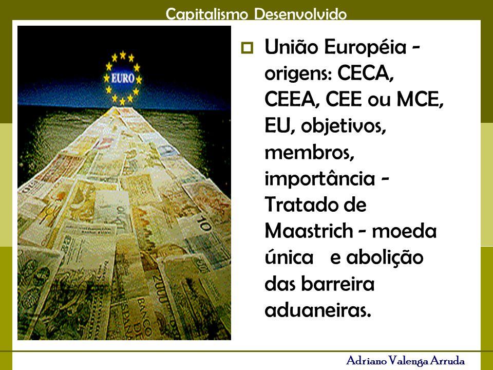 União Européia - origens: CECA, CEEA, CEE ou MCE, EU, objetivos, membros, importância - Tratado de Maastrich - moeda única e abolição das barreira aduaneiras.