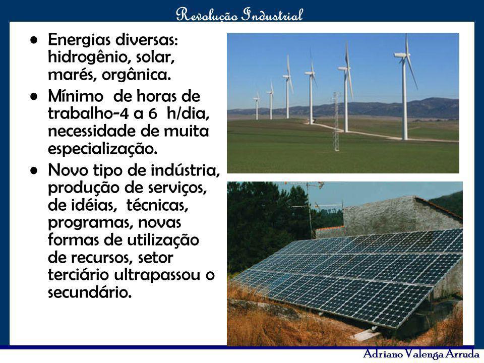 Energias diversas: hidrogênio, solar, marés, orgânica.