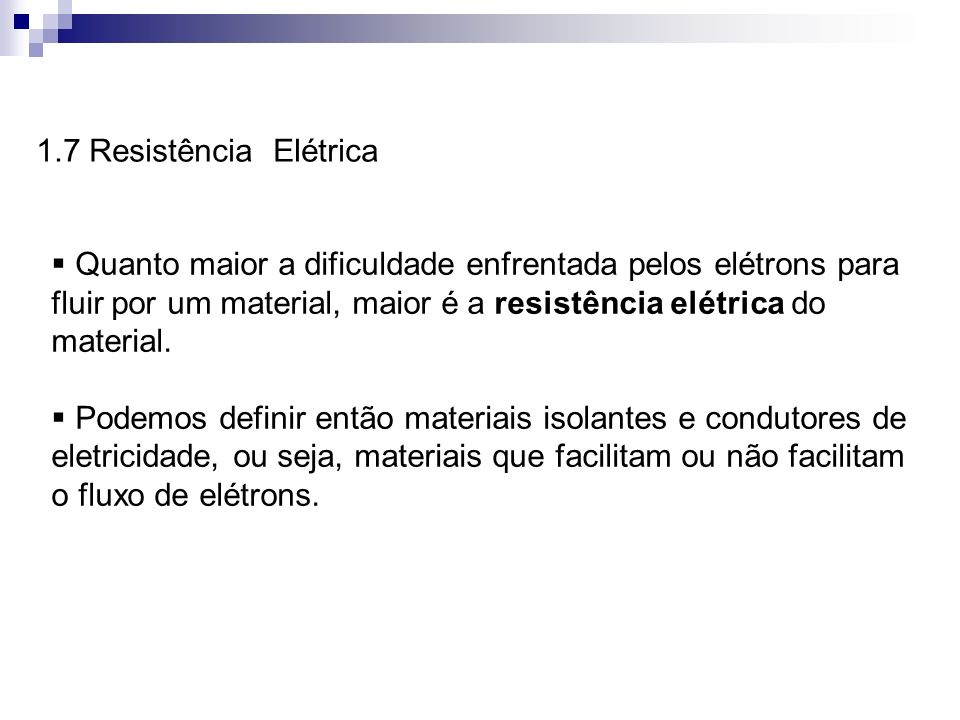 1.7 Resistência Elétrica