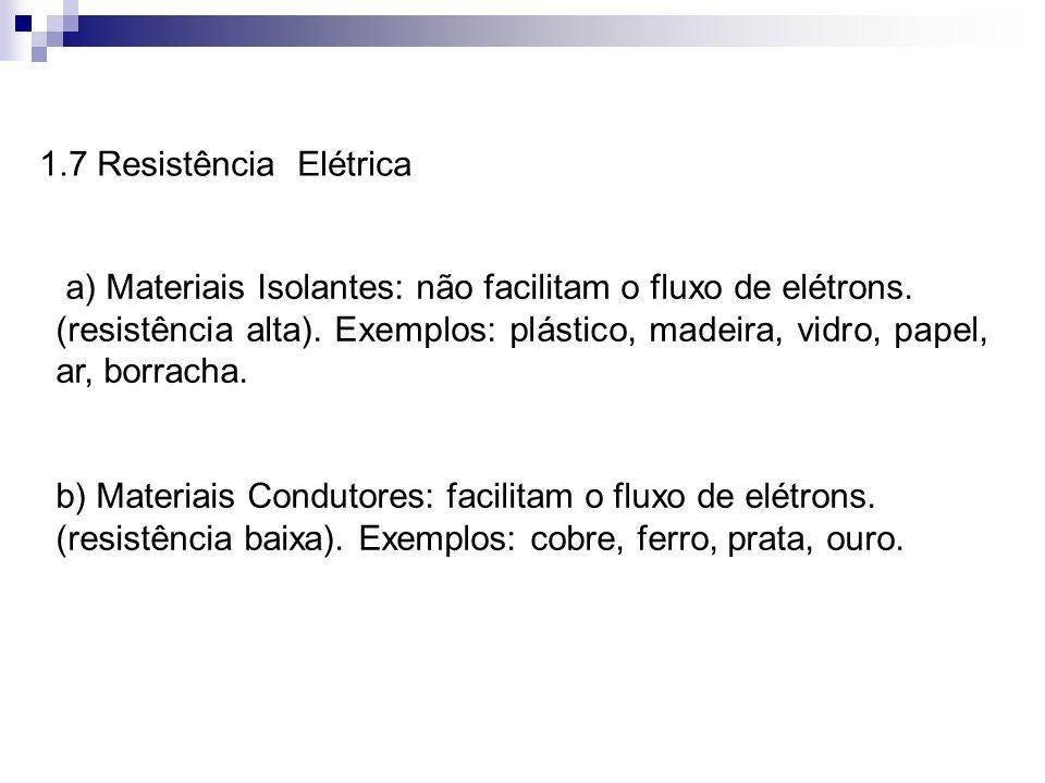 1.7 Resistência Elétricaa) Materiais Isolantes: não facilitam o fluxo de elétrons.