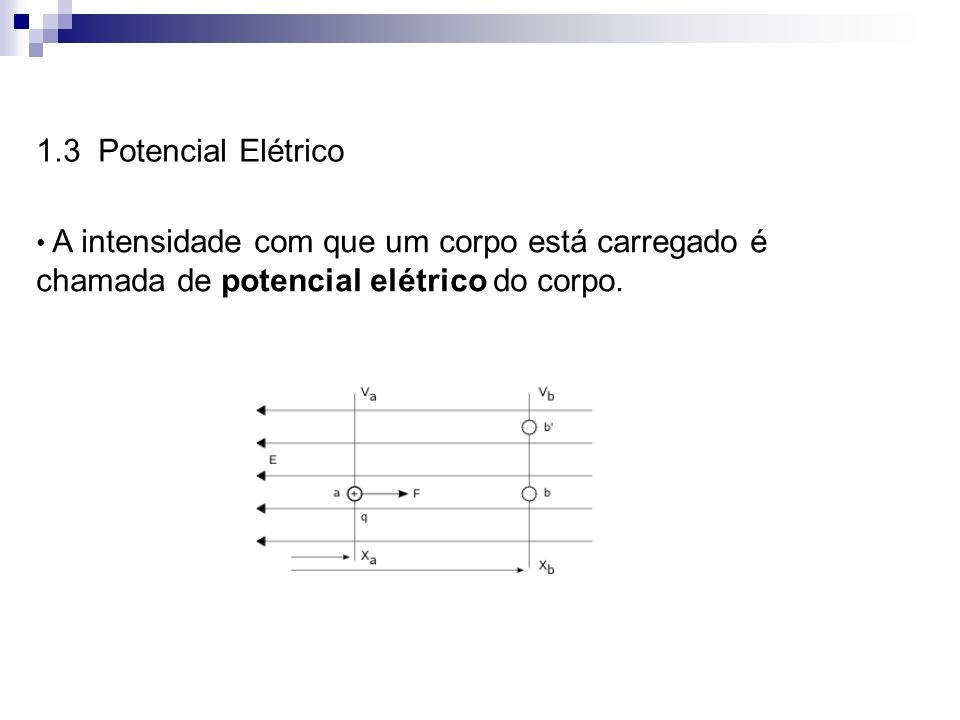 1.3 Potencial ElétricoA intensidade com que um corpo está carregado é chamada de potencial elétrico do corpo.