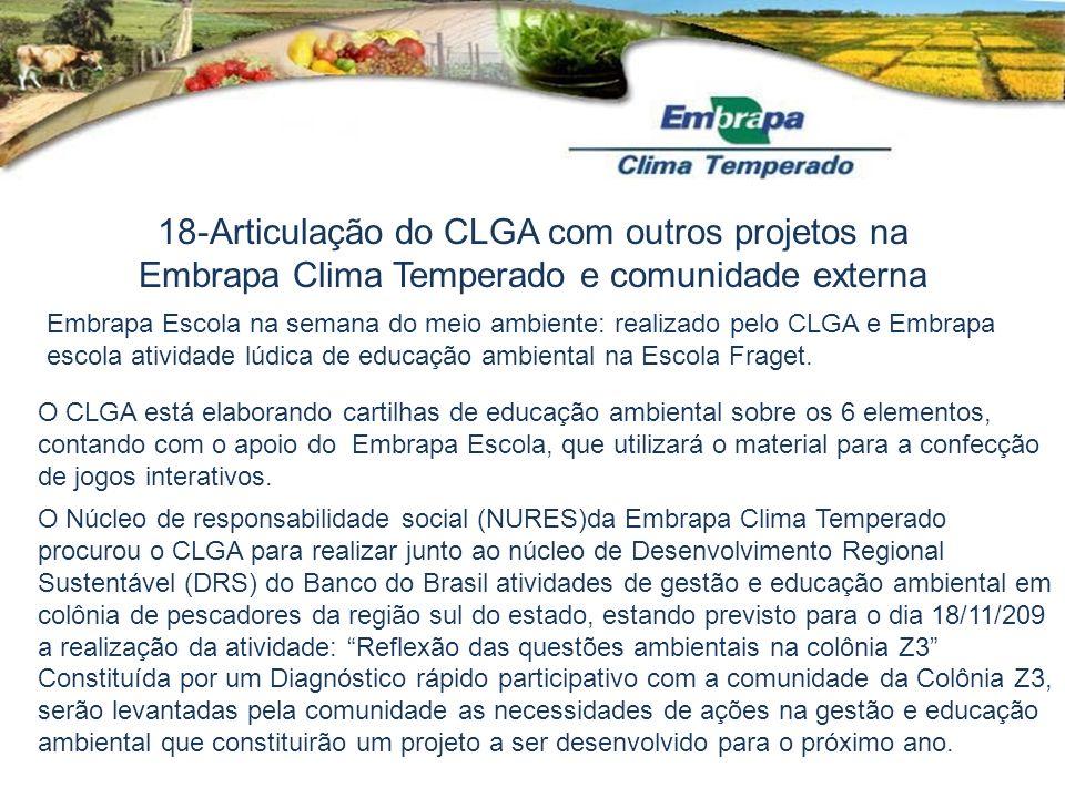 18-Articulação do CLGA com outros projetos na Embrapa Clima Temperado e comunidade externa