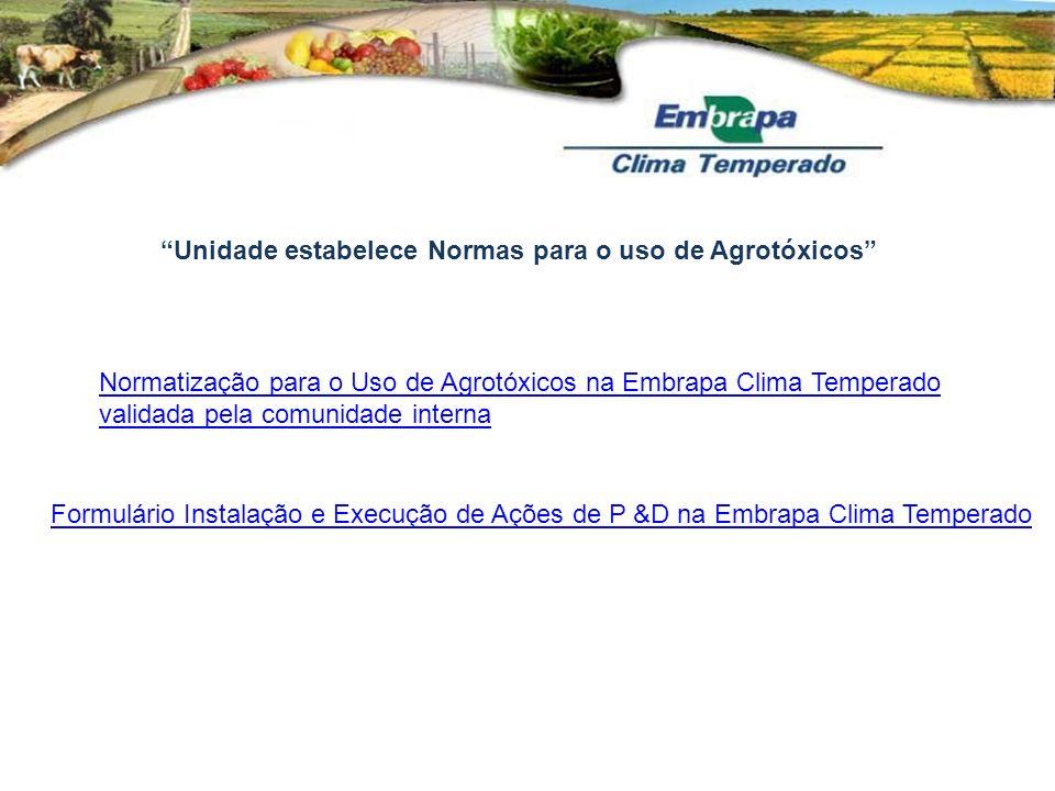 Unidade estabelece Normas para o uso de Agrotóxicos