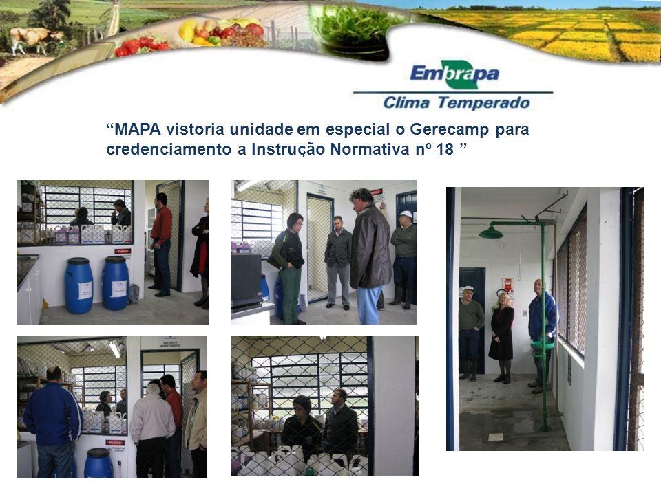 MAPA vistoria unidade em especial o Gerecamp para credenciamento a Instrução Normativa nº 18