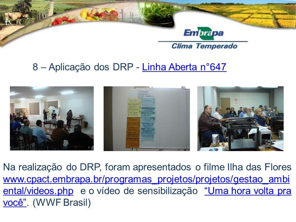 8 – Aplicação dos DRP - Linha Aberta n°647