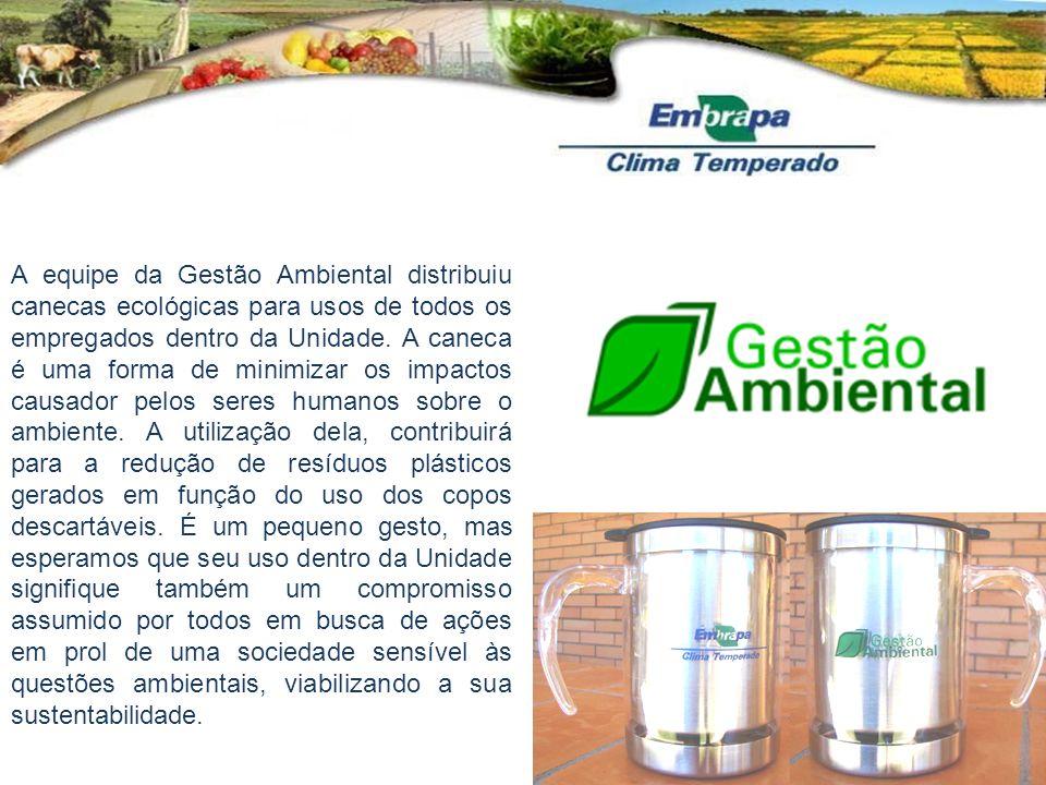 A equipe da Gestão Ambiental distribuiu canecas ecológicas para usos de todos os empregados dentro da Unidade.