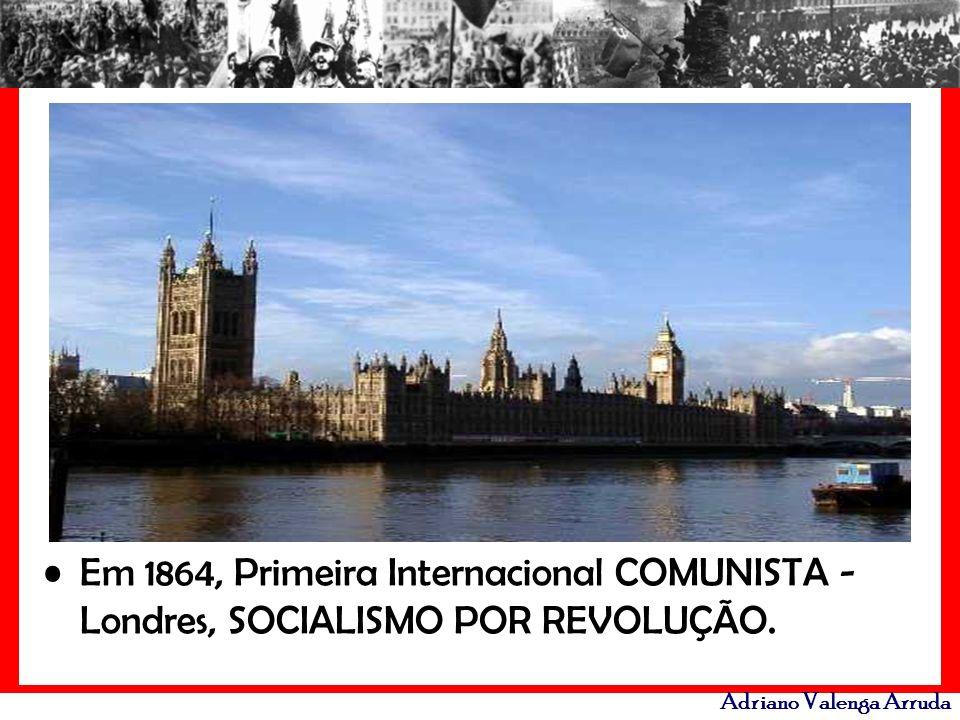 Em 1864, Primeira Internacional COMUNISTA - Londres, SOCIALISMO POR REVOLUÇÃO.