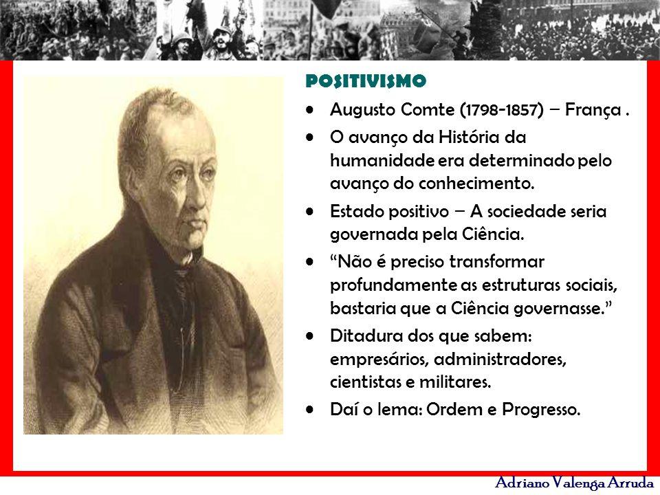POSITIVISMO Augusto Comte (1798-1857) – França . O avanço da História da humanidade era determinado pelo avanço do conhecimento.