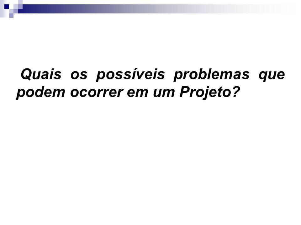 Quais os possíveis problemas que podem ocorrer em um Projeto