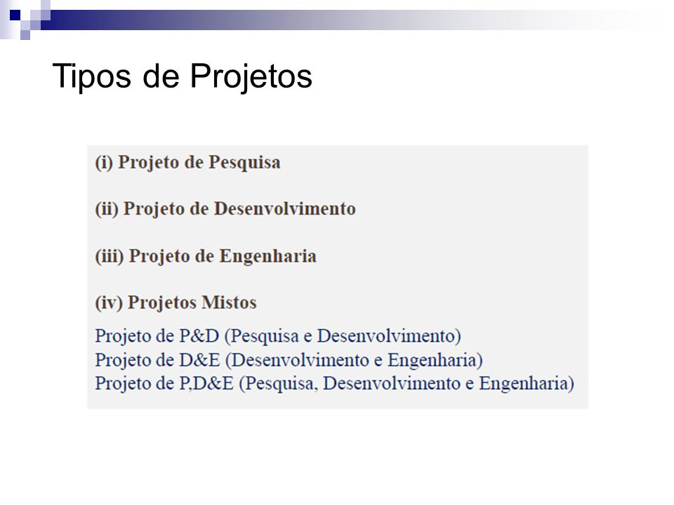 Tipos de Projetos