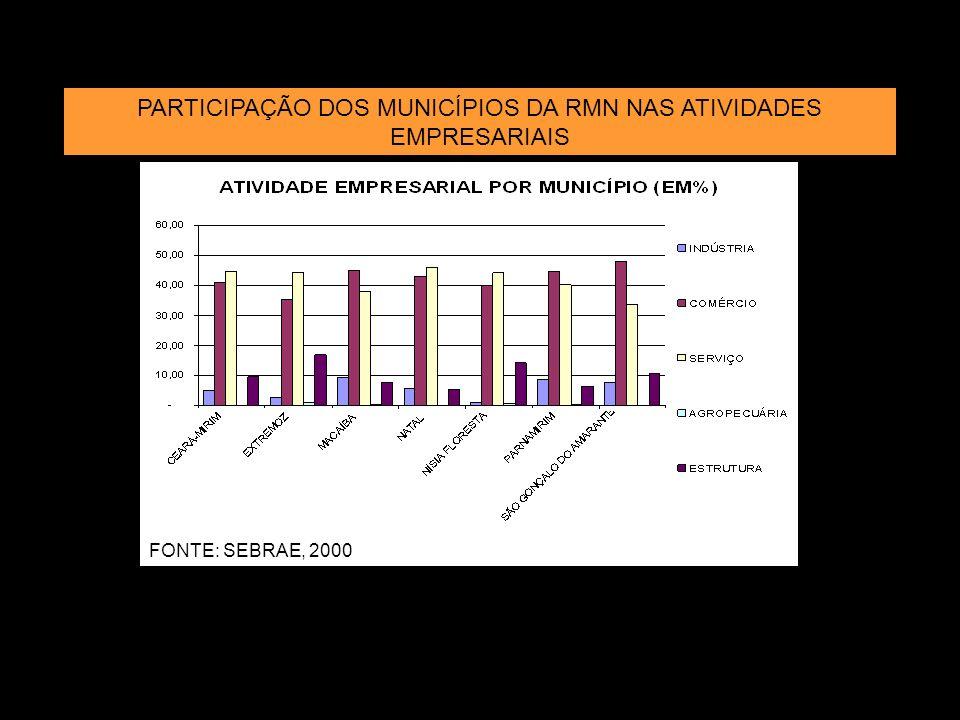 PARTICIPAÇÃO DOS MUNICÍPIOS DA RMN NAS ATIVIDADES EMPRESARIAIS