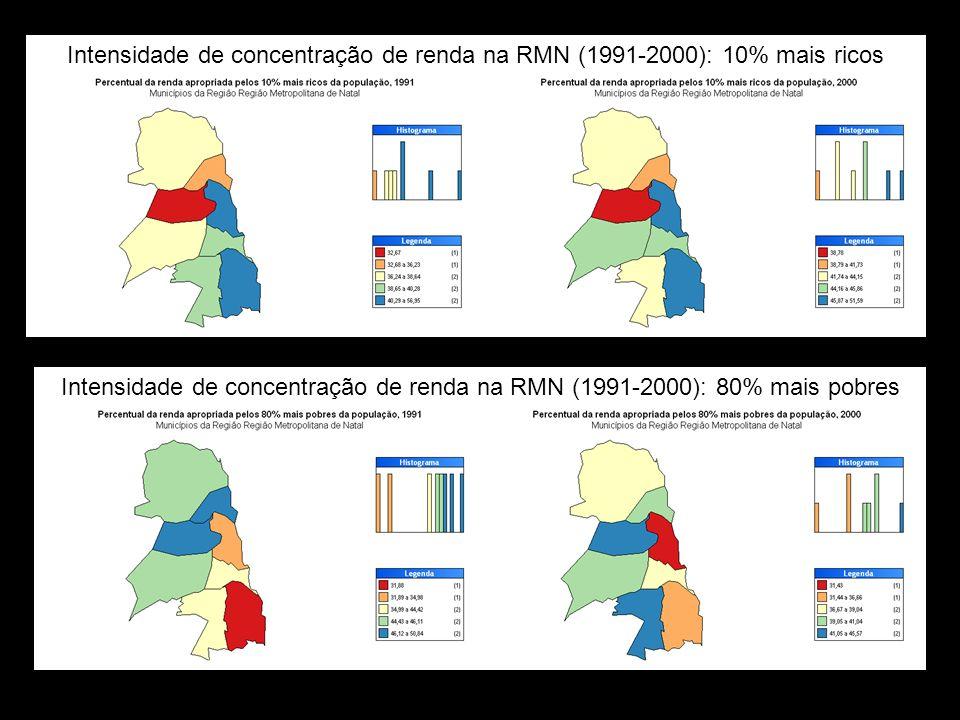 Intensidade de concentração de renda na RMN (1991-2000): 10% mais ricos
