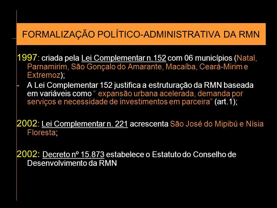FORMALIZAÇÃO POLÍTICO-ADMINISTRATIVA DA RMN