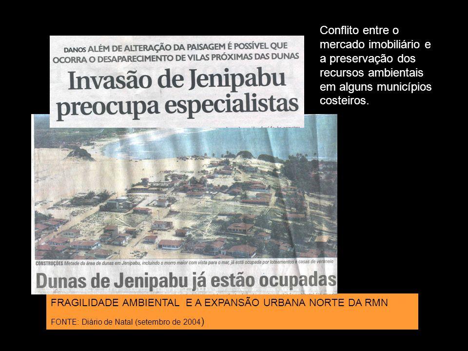 Conflito entre o mercado imobiliário e a preservação dos recursos ambientais em alguns municípios costeiros.