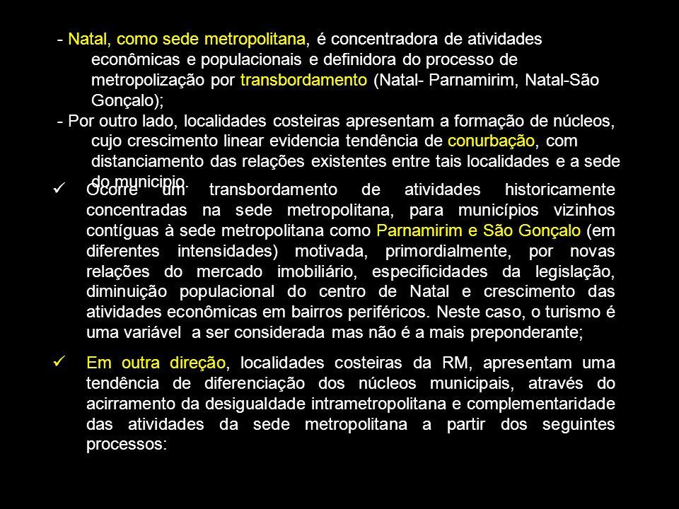 - Natal, como sede metropolitana, é concentradora de atividades econômicas e populacionais e definidora do processo de metropolização por transbordamento (Natal- Parnamirim, Natal-São Gonçalo);