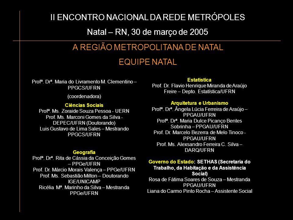 II ENCONTRO NACIONAL DA REDE METRÓPOLES