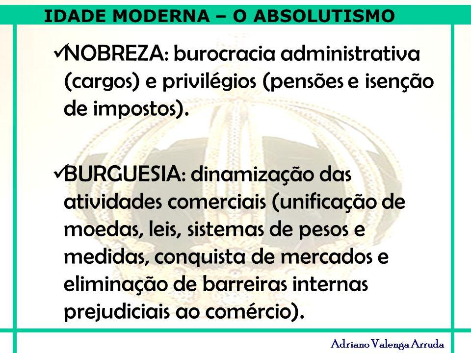 NOBREZA: burocracia administrativa (cargos) e privilégios (pensões e isenção de impostos).