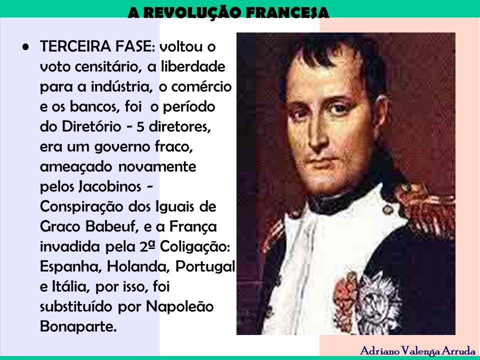 TERCEIRA FASE: voltou o voto censitário, a liberdade para a indústria, o comércio e os bancos, foi o período do Diretório - 5 diretores, era um governo fraco, ameaçado novamente pelos Jacobinos - Conspiração dos Iguais de Graco Babeuf, e a França invadida pela 2ª Coligação: Espanha, Holanda, Portugal e Itália, por isso, foi substituído por Napoleão Bonaparte.