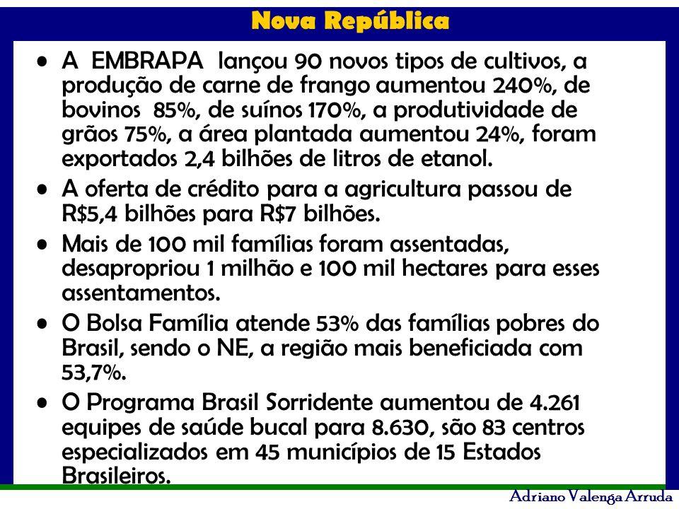 A EMBRAPA lançou 90 novos tipos de cultivos, a produção de carne de frango aumentou 240%, de bovinos 85%, de suínos 170%, a produtividade de grãos 75%, a área plantada aumentou 24%, foram exportados 2,4 bilhões de litros de etanol.