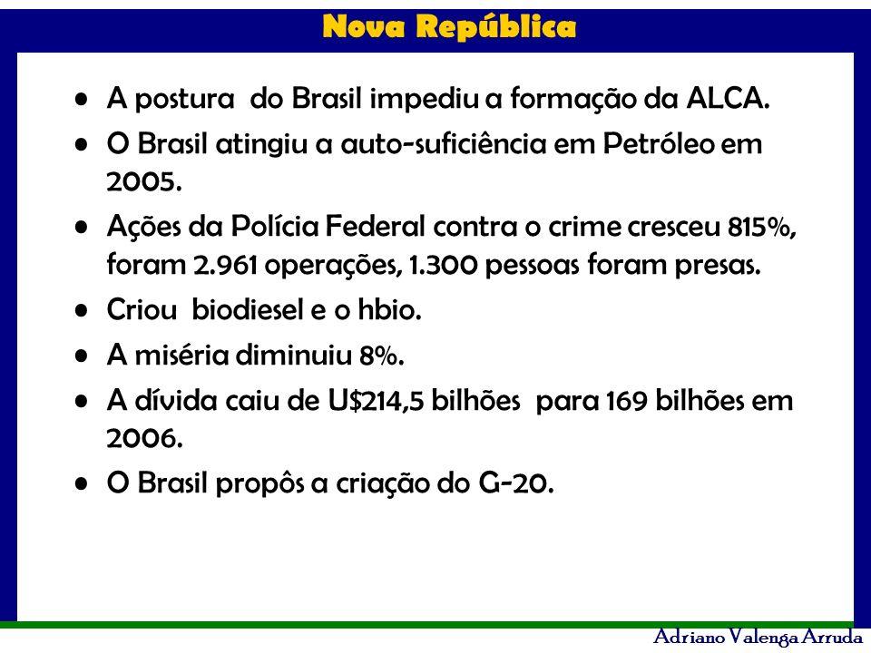 A postura do Brasil impediu a formação da ALCA.