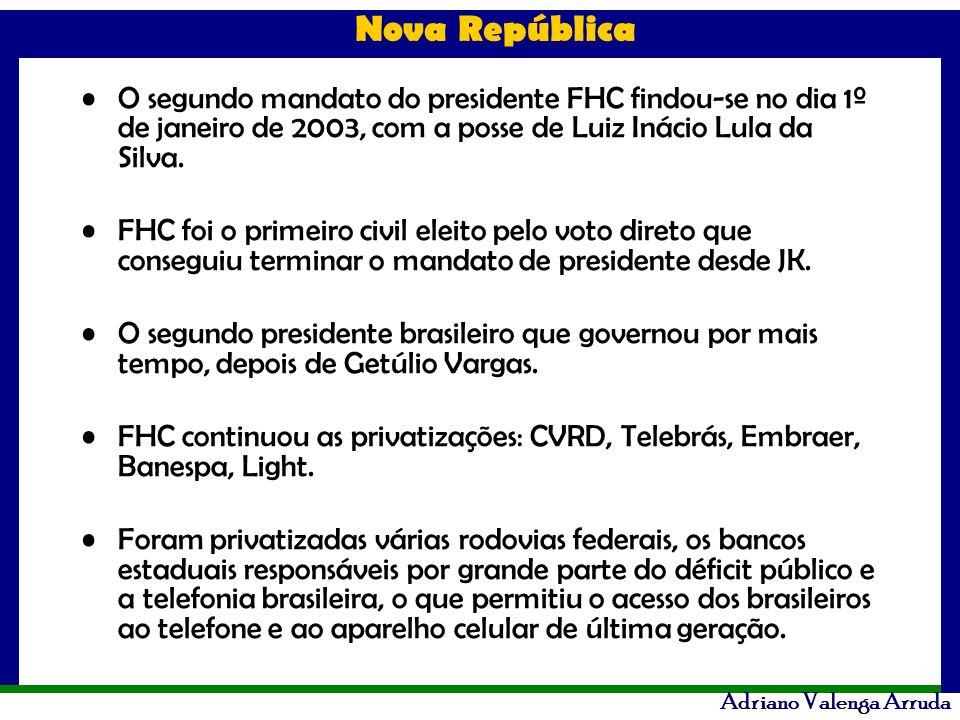 O segundo mandato do presidente FHC findou-se no dia 1º de janeiro de 2003, com a posse de Luiz Inácio Lula da Silva.